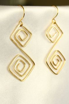 Gold Wire Wrapped Double Square Earrings by ConceptAna on Etsy