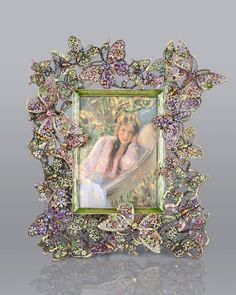 "Floral Butterfly 5"" x 7"" Frame by Jay Strongwater at Neiman Marcus."