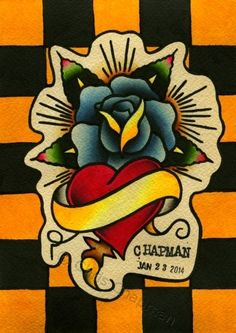 Heart & Rose Traditional Tattoo Flash by Chris Chapman (2014)