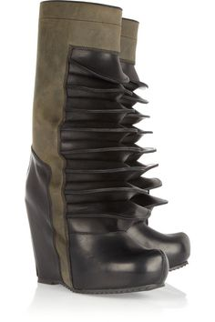 8cfa6ffbfe Rick Owens Leather wedge boots Leather Slip On Shoes