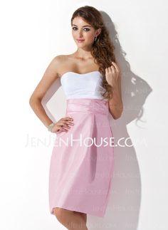 Bridesmaid Dresses - $89.99 - A-Line/Princess Sweetheart Knee-Length Taffeta Bridesmaid Dresses With Ruffle (007004307) http://jenjenhouse.com/A-line-Princess-Sweetheart-Knee-length-Taffeta-Bridesmaid-Dresses-With-Ruffle-007004307-g4307