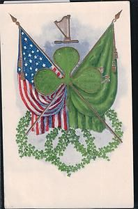 966e6e5c72ce0 Antique Postcard St Patricks Day Irish American Heritage Clover Flags Harp
