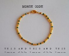"""This bracelet uses international Morse code to spell out """"this and this and this"""" from The Song of Achilles. Each round gold/silver-coloured bead represents a dot, each long gold/silver-coloured bead represents a dash, and each coloured bead signifies the space in between each letter."""