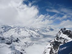 View from Mt. Titlus, Switzerland - 10,000 feet in the air. We took a tram ride up here and had a snowball fight in July =)