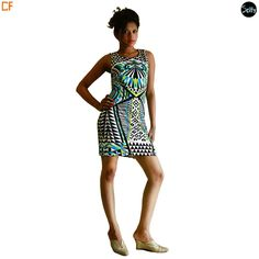 Cocktail multicolored bodycon dress in lycra which is a stretchable material with a round neckline. The dress has geometrical as well as aztec prints all over the dress. http://www.droomfashion.com/shop/gowns-dresses/party_dresses_cocktail_multicolored_dres-2/