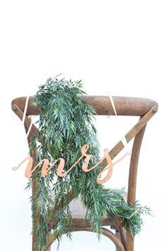 Wedding Chair Signs: genuine copper leaf mr and mrs calligraphy pair  Copper is in! Add a touch of boho to your wedding with these laser-cut,
