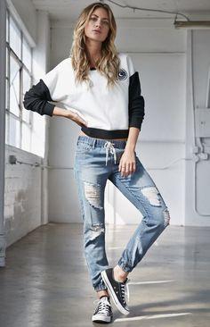 Bullhead Denim Co. Penny Indigo Ripped Jogger Jeans