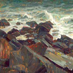 Mike Hernandez     Oceanside jetty WA 7x10 gouache