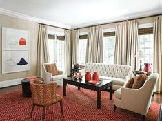 Red accents enliven this family room. #interior #design #furnishings