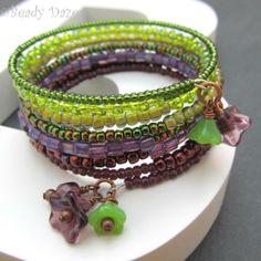 Bramble Daze bracelet. Memory wire, Czech beads £10.00