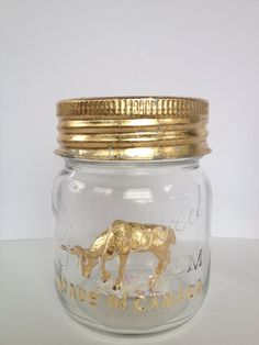 Items similar to Vintage 'Made in Canada' mason jar, hand gold leafed, with decorative ornament inside. on Etsy And July, Beautiful Things, Lanterns, Mason Jars, October, Canada, Homemade, Crafty, Unique Jewelry
