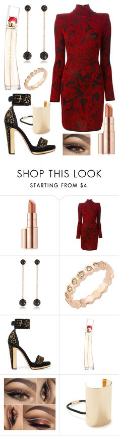 """""""Alert"""" by puppydog28 ❤ liked on Polyvore featuring Estée Lauder, Balmain, Bee Goddess, Alexander McQueen, Kenzo and Forever 21"""