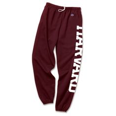"""Classic Maroon """"Harvard""""Sweatpants ❤ liked on Polyvore featuring activewear, activewear pants, bottoms, pants, red sweatpants, sweat pants, maroon sweatpants and red sweat pants"""