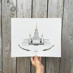 Oakland California LDS Temple Illustration by HeatherMettra