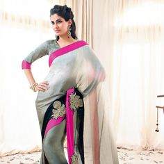 Shaded Moss Green and Black Shimmer Satin Saree with Blouse