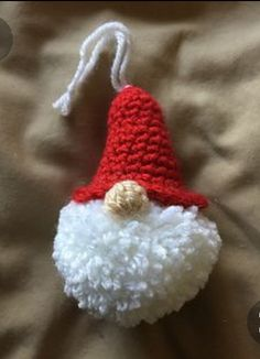 Crochet Patterns Ravelry: Puffball Gnome Ornament pattern by Alexandra Halsey Crochet Crafts, Yarn Crafts, Free Crochet, Gnome Ornaments, Crochet Christmas Ornaments, Hallmark Ornaments, Christmas Lights, Christmas Tree, Crochet Christmas Decorations