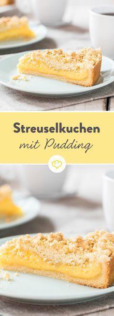 Streuselkuchen mit Pudding gefüllt - Ein buttriger Mürbeteig unten, knusprige Streusel oben und dazwischen ein herrlich cremiger Vanillepudding – so hat Oma den Klassiker früher schon gemacht und so machen wir ihn auch heute.
