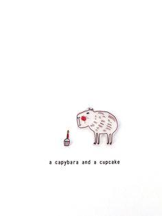 a capybara and a cupcake - handmade card £3.50