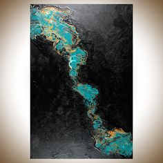 Large acrylic pour 36 x 24 inch Turquoise gold Abstract