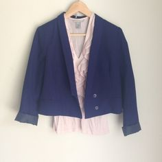 Cropped Navy Blue Blazer Sparkle and Fade blue blazer from Urban Outfitters. It is cropped to mid waist. Great structure and details. Perfect condition, jacket has only been worn a handful of times Urban Outfitters Jackets & Coats Blazers