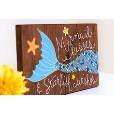 Mermaid art, mermaid painting, mermaid sign, nautical nursery art, wood mermaid…