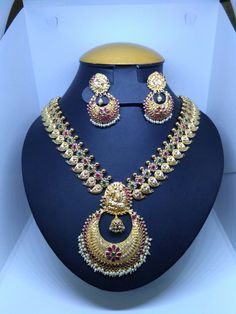 92 grams 22K 91.6 KDM Hall mark Long Haram with Ear rings from Shine dove jewelers.