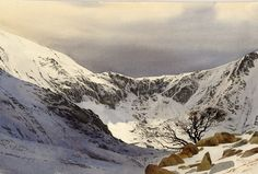 Spring Snow - Cwm Idwal, an original watercolour painting by Rob Piercy Watercolor Painting Techniques, Watercolor Landscape Paintings, Watercolor Artists, Watercolor And Ink, Abstract Landscape, Mountain Landscape, Winter Landscape, Mountain Paintings, Winter Art