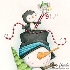 Art Print Christmas Winter snowman penguin mouse by staceyyacula, $20.00
