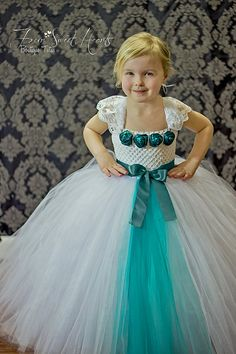Teal Girls Tutu Dress, Flower Girl Dress, Birthday Tutu, or Princess Dress