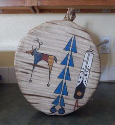 Indian drum - Deer skin - sinew - wood