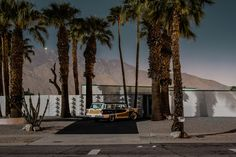 Breathtaking images that capture Palm Springs modernist homes and period automobiles by the light of the moon