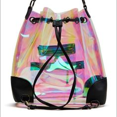 Nasty gal holographic backpack Great for festivals with holographic see thru polyurethane. Nasty gal so psyched backpack Nasty Gal Bags Backpacks
