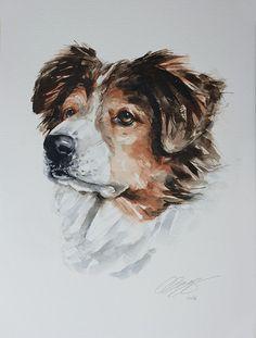 custom pet portrait original watercolour painting dog or cat