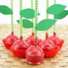 Cherry Cake Pops!  #fruit #cakepop #chevron #paperstraws  http://www.layercakeshop.com/blogs/the-daily-mixer/7991499-cherry-cake-pops