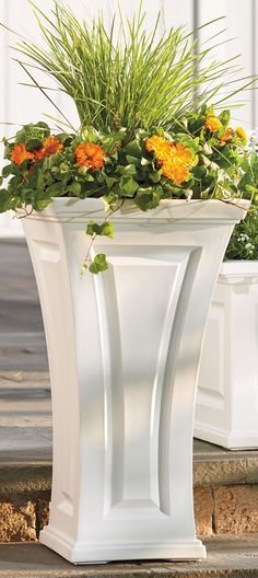 Our Cambridge Tall Planter is so care-free you'll never reach for a paintbrush again. Frame your front door with these curvy planters Tall Planters, Outdoor Planters, Garden Planters, Planter Pots, Potted Garden, Container Plants, Container Gardening, Plant Containers, Lawn And Garden