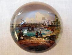 ANTIQUE VICTORIAN SOUVENIR GLASS PAPERWEIGHT - ADMIRALTY PIER - DOVER