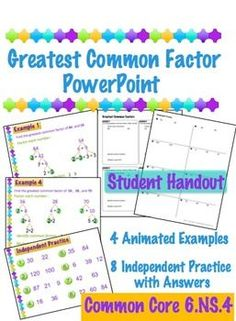 Greatest Common Factor PowerPoint and a student handout
