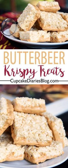 This is the treat for Harry Potter fans! Butterbeer Krispy Treats are so chewy a… This is the treat for Harry Potter fans! Butterbeer Krispy Treats are so chewy and full of that butterbeer flavor. Perfect for a Harry Potter party! Rice Crispy Treats, Krispie Treats, Yummy Treats, Sweet Treats, Rice Krispies, Köstliche Desserts, Delicious Desserts, Dessert Recipes, Yummy Food