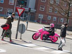 Pink Lady by Niels Linneberg, via Flickr | street scene people + motorcycle + pink grey brown red blue