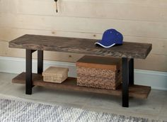 Metal And Reclaimed Wood Bench With Shelf Home Living Room Furniture New Brown #AlaterrePomona #Cottage