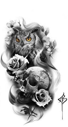 - Skull Tattoo - Garden Planting - Home DIY Cheap - Blonde Hair Styles - DIY Jew. - tattoo designs ideas männer männer ideen old school quotes sketches Owl Tattoo Design, Tattoo Sleeve Designs, Sleeve Tattoos, Owl Tattoo Drawings, Tattoo Sketches, Star Tattoos, Body Art Tattoos, Owl Tattoos, Fish Tattoos