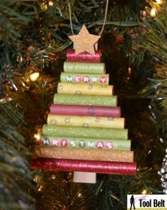 Rolled scrapbook paper Christmas Tree ornament