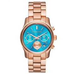 Michael Kors Blue Dial Rose Gold Tone SS Chronograph Quartz Ladies Watch -- Check out this . Micheal Kors Watch Women, Michael Kors Runway Watch, Michael Kors Rose, Handbags Michael Kors, Gucci Handbags, Coach Handbags, Macys Coach, Stainless Steel Case, Gold Watch