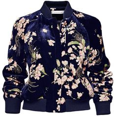Magda Butrym Tokyo Jacket (35 575 ZAR) ❤ liked on Polyvore featuring outerwear, jackets, floral print jacket, flower print jacket, blue floral jacket, floral jacket and blue jackets