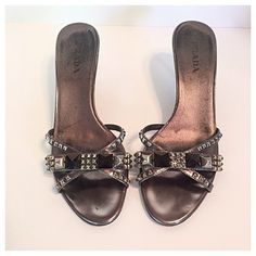 """Prada Pewter Studded Kitten Heel Sandals Metallic pewter colored leather slide on sandals with stud accents. 3"""" kitten heels. Measurements: insole length 10.25"""", width 3.5"""". Made in Italy. Euro size 39.5 Prada Shoes Sandals"""