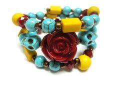 Sugar Skull Bracelet  Day of the Dead Jewelry by sweetie2sweetie, $24.99