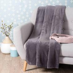 Plaid doux gris ardoise 150 x 230 cm CHALEUR