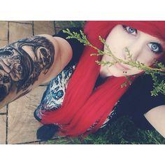 I'm in the trees again! Blahh missed posting on here c; #tree #redhair #blueeyes #tattoo #tats #suicidesilence #scenekid #scenehair #scenegirl #scene #emo #emohair #halfsleeve #red #bored #selfie #bleh #piercings #snakebites #septum