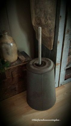 Tin butter churn - have never even heard of a tin butter churn!