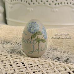 French Script Shabby Aqua Easter Egg Hand Painted Cottage Hydrangeas – Artistic Romantic